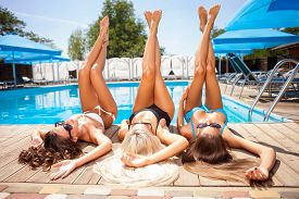 picture of sunbathers  - Attractive women are lying near a swimming pool and relaxing - JPG