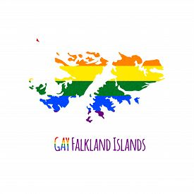 stock photo of bisexual  - Vector map of Falkland Islands in LGBT  - JPG