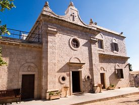 foto of prophets  - Muhraqa monastery on Mount Carmel in Israel in the place of the prophet Elijah fight with the prophets Boal - JPG