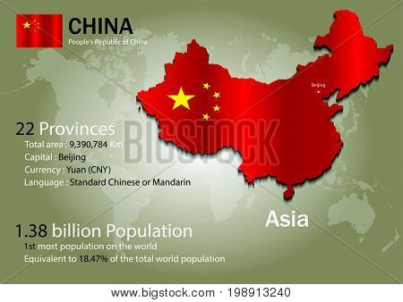 poster of China world map with a country flag texture. World map geography.