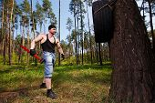 Strong Healthy Adult Ripped Man With Big Muscles Working Out Wit poster