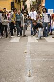 VERONA, VT - SEPTEMBER 27TH: Participants play street game during the 6th Tocati September 27th, 2008 in Verona, Italy
