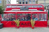 LONDON - OCTOBER 17: Restaurant built inside old double decker routemaster busin Bricklane market, w