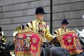 LONDON, ENGLAND - NOVEMBER 12:  Cavalryman playing kettle drums at the Lord Mayor's Show in London o