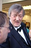REGENT STREET, LONDON - MAY 11 - Stephen Fry the famous actor being interviewed at product launch in