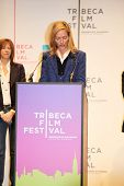 NEW YORK - APRIL 21 : Actress Actress Uma Thurman gives a speech at Tribeca Film Festival opening Ap