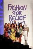 NEW YORK - FEBRUARY 12: Naomi Campbell and models exit the runway for the  Fashion for relief-Haiti