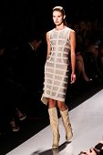 NEW YORK - FEBRUARY 15: Model walks the runway for Herve Leger by Max Azria  collections Mercedes-Be