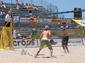 HUNTINGTON BEACH, CA. - MAY 23: Ty Loomis, Casey Patterson, and Phil Dalhausser at the AVP Huntington Beach Open south of the pier on the weekend of the 22nd -24th in Huntington Beach, California May 23rd 2009
