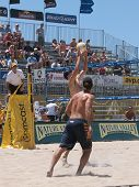 HUNTINGTON BEACH, CA. - MAY 23: Todd Rogers and Phil Dalhausser during the AVP Huntington Beach Open south of the pier on the weekend of the 22nd -24th in Huntington Beach, California May 23rd 2009