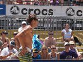 HUNTINGTON BEACH, CA. - MAY 23: Ty Loomis at the AVP Huntington Beach Open south of the pier on the weekend of the 22nd -24th in Huntington Beach, California May 23rd 2009