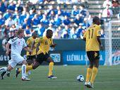 CARSON, CA. - 3 juli: Concacaf Gold Cup soccer match, Canada vs. Jamaica op de Home Depot center in