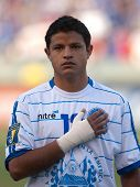CARSON, CA. - JULY 3: Concacaf Gold Cup soccer match, Costa Rica vs. El Salvador at the Home Depot center in Carson. Manuel Salazar pregame during the national anthem on July 3, 2009.