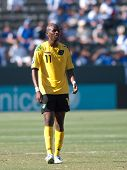 CARSON, CA. - JULY 3: Concacaf Gold Cup soccer match, Canada vs. Jamaica at the Home Depot Center in Carson. Luton Shelton during the game. July 3, 2009.