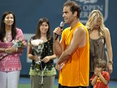 LOS ANGELES, CA. - JULY 27: Pete Sampras gives a speech after winning his exhibition match at the L.