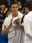 LOS ANGELES, CA. - JULY 27: Marat Safin interviewed after exhibition match against Sampras at the L.