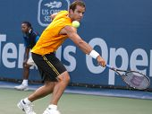 LOS ANGELES, CA. - JULY 27: Pete Sampras (pictured) and Marat Safin play an exhibition match at the