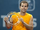 LOS ANGELES, CA. - JULY 27: Pete Sampras recieves award after an exhibition match at the L.A. Tennis