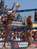 HERMOSA BEACH, CA. - AUGUST 8: Jen Kessy (L) and April Ross vs. Nicole Branagh (R) and Elaine Youngs