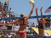HERMOSA BEACH, CA. - AUGUST 8: Jen Kessy and April Ross (R) vs. Nicole Branagh (L) and Elaine Youngs