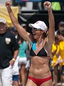 HERMOSA BEACH, CA. - AUGUST 8: Jen Kessy and April Ross vs. Nicole Branagh and Elaine Youngs (pictur
