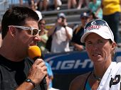 HERMOSA BEACH, CA. - AUGUST 8: Elaine Youngsbeing interviewed after the womens final of the AVP Herm