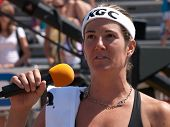 HERMOSA BEACH, CA. - AUGUST 8: Nicole Branagh giving a speach after winning the womens final of the