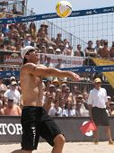 HERMOSA BEACH, CA. - AUGUST 9: Phil Dalhausser and Todd Rogers vs. John Hyden (pictured) and Sean Sc