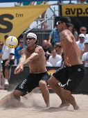 HERMOSA BEACH, CA. - AUGUST 9: Phil Dalhausser and Todd Rogers vs. John Hyden (L) and Sean Scott (R