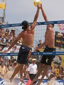 HERMOSA BEACH, CA. - AUGUST 9: Phil Dalhausser and Todd Rogers (L) vs. John Hyden and Sean Scott (R)