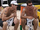 HERMOSA BEACH, CA. - AUGUST 9:  John Hyden (L) and Sean Scott (R) after the mens final of the AVP He