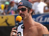 HERMOSA BEACH, CA. - AUGUST 9: Todd Rogers giving a speach after winning the mens final of the AVP H