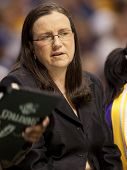 LOS ANGELES, CA. - SEPTEMBER 16: Marianne Stanley Sparks Assistant Coach, coaches during the WNBA pl