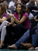 LOS ANGELES, CA. - SEPTEMBER 16: Vivica Fox watches the WNBA playoff game of the Sparks vs. Storm on September 16, 2009 in Los Angeles.
