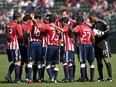 CARSON, CA. - OCTOBER 25: Chivas USA starting 11 before the Chivas USA vs. Houston Dynamo match on October 25th, 2009 at the Home Depot Center in Carson.