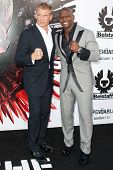 HOLLYWOOD, CA. - AUG 3: Dolph Lundgren (L) and Terry Crews (R) arrive at The Expendables Los Angeles
