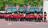 LONDON, UNITED KINGDOM - MAY 6: Coldstream Guards on May 6, 2011 in front of Buckingham Palace in London, UK. The 7th company is involved in the Changing of the Guard.