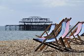 Deck chairs on Brighton beach
