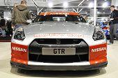 LONDON, UK - NOVEMBER 7: A Nissan GTR safety car at the MPH motorshow, November 7, 2010 in London, U
