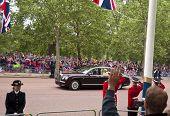 LONDON, UK - APRIL 29: Queen Elizabeth's Bentley at Prince William and Kate Middleton wedding, April 29, 2011 in London, United Kingdom
