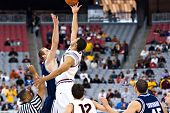 GLENDALE, AZ - DECEMBER 20: ASU forward Jeff Pendergraph #4 faces BYU center Chris Miles #54 in the