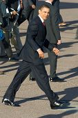 PHOENIX, AZ - MAY 13: President Barack Obama on the tarmac after disembarking from Air Force One at