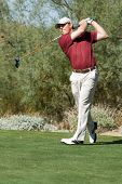 SCOTTSDALE, AZ - OCTOBER 21: Justin Leonard hits a drive in the Frys.com Open PGA golf tournament on
