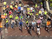 WESTMINSTER, LONDON, ENGLAND-SEPT 20: Cyclists take part in SKYRIDE cycle event on traffic free westminster roads, Sept 20, 2009 Westminster, London, England.