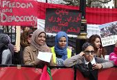 LONDON- APRIL 2: Unidentified Yemen supporters protest for freedom and democracy to be restored in t