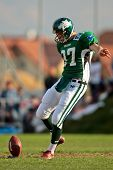 KORNEUBURG, AUSTRIA - APRIL 18:  Austrian Football League:  Punter Gabor Sviatko (#37, Dragons) and