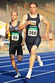 LINZ, AUSTRIA - AUGUST 1 Austrian track and field championship: Clemens Zeller (#366) wins the men's 400m competition on August 1, 2009 in Linz, Austria.