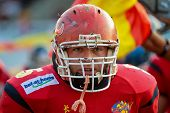 WOLFSBERG, AUSTRIA - AUGUST 20 American Football B-EC: LB Inigo Arestegui (#5, Spain) and his team l