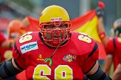 WOLFSBERG, AUSTRIA - AUGUST 16: American Football B-EC: OL Fernando Guijarro (#69, Spain) and his team lose 7:42 against Spain on August 16, 2009  in Wolfsberg, Austria.