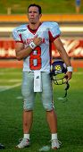 WOLFSBERG, AUSTRIA - AUGUST 20: American Football B-EC: QB Christoph Gross (#8, Austria) and his team beat Spain 70:0 on August 20, 2009 in Wolfsberg, Austria.